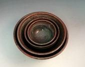Nesting Bowls/ Handmade Stoneware/ Set of Four
