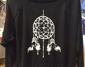 Ladies Raglan Tri-Black Pullover Top Sweatshirt American Apparel Dreamcatcher Art Print S