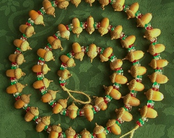 "Primitive Real Acorn Christmas Tree Garland 59"" Early Old Look Tree Decoration Ornament Home Decor Gift"