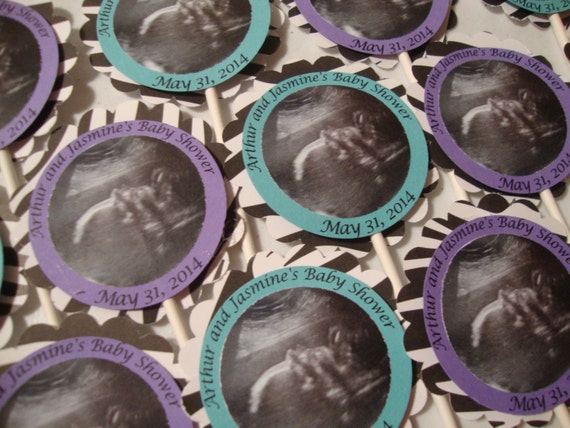 Baby shower ultrasound cupcake topper or tags