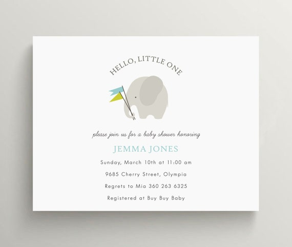 little grey elephant baby shower invitation set // first birthday invitation // circus // gray // thank you note // gender neutral