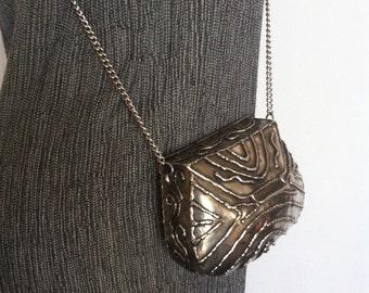 Vintage pewter color metal mini handbag with chain strap