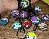 Hand Drawn , bottle cap, necklaces, ball chain, flowers,girl, vampire, coffee, love,awesome,adorable,fun, gift