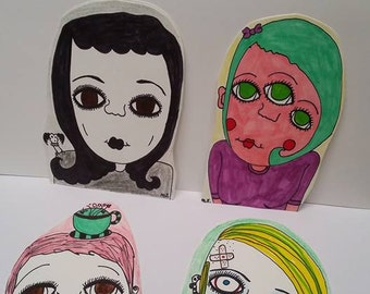 Bookmarks,witches,creepy,lady,punk,goth,skulls,assorted