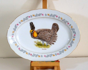 Crescent Fine China Platter With Prairie Chicken Spring Song Japan