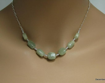 Sage Green Aquamarine Necklace in Sterling Silver