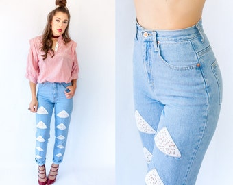 80s CANDIES Jeans Vintage High Waisted Lace Cut Out Jeans Denim Pants / High Rise Jeans / Skinny Jeans / Size 5/6 Modern 0 2