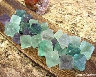 Fluorite Octahedron (one) gemstone, sacred geometry, crystal healing, Platonic solid shape, heart chakra,