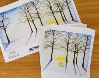 6 blank cards - Solstice - winter sunrise