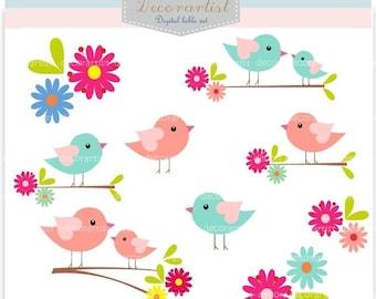 ON SALE bird clipart, instant download, Digital clipart birds, love birds, birds clipart, birds on the branch