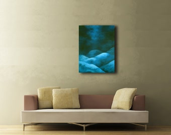 """Large Blue Canvas Painting - Original Painting - Blue Abstract Painting - Modern Painting - """"Smooth"""""""