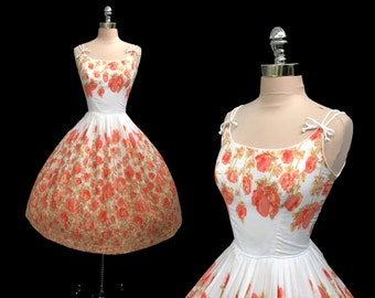 RESERVED Vintage 1950s Peach Floral Print Cotton Full Skirt Pinup Party Dress M