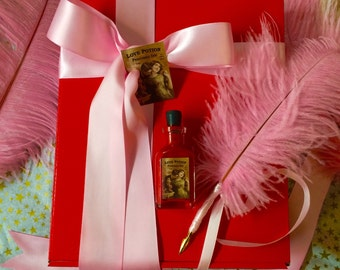 LOVE POTION ~ Pink Feather Plume Dip Pen & Red Perfumed Ink Gift Set