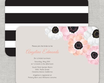 Romantic Bridal Shower Invitations, Anemone Wedding, Coral & Blush Bridal Shower Invitations, Blush and Coral Anemones