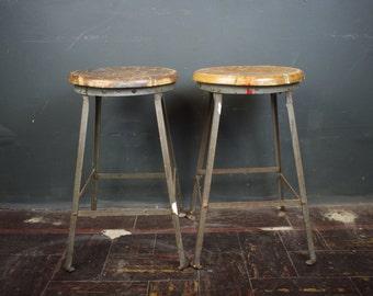 Pair of Industrial Angle Steel & Wood Stools
