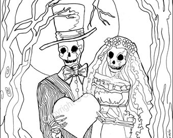 Coloring Pages Skeleton Wedding Color Page Day Of The Dead Digital Downloaded