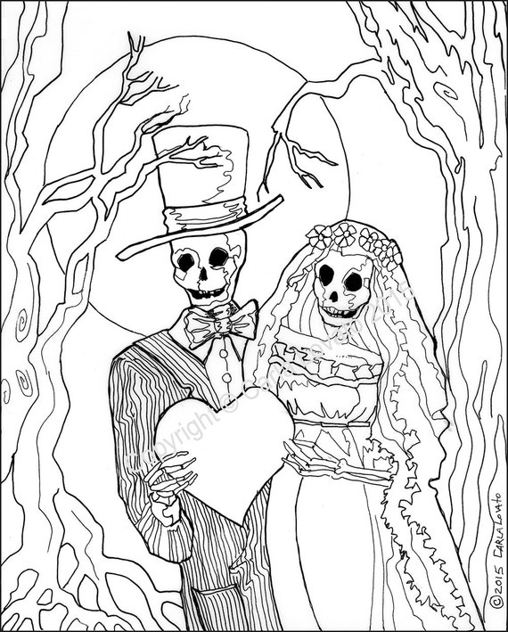 Day Of The Dead Skeletons Coloring Pages. coloring pages  Skeleton Wedding Color Page Day of the Dead digital downloaded color page adult Bride