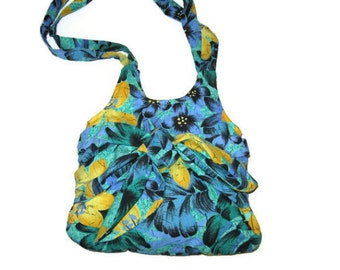 Black Green Yellow Blue Tropical Floral Sarong Bag Summer Bag Womens Handbag