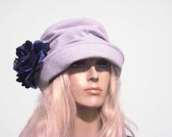 Blue Tweed Cloche Hat Tea Hat Church Hat Spring Hat Easter Hat
