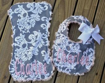 Baby Bib,Burp Cloth, Personalized BibDamask,Gray,Pinky Minky,Baby Bib,Girl Bib,Burp Cloth,Newborn Bib,Monogrammed