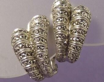 STERLING Marcasite Earrings / Vintage Marcasite Earrings / Sterling and Marcasite Earrings / Sterling Earrings / Sterling Bridal Earrings