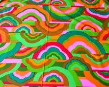 Vintage Fabric - Mod Cloud Rainbow Print - By the Yard