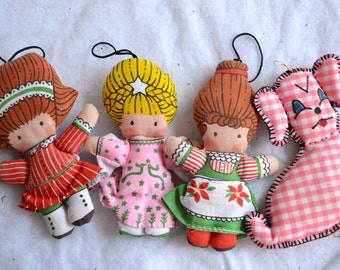 Vintage Christmas Ornaments - Joan Walsh Anglund Fabric Dolls and Dog - 4