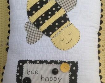 Bee Happy Vintage Quilt Pieced Pillow