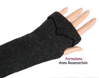 mittens gray arm cuffs wrist warmers wool  fingerless gloves  arm warmers