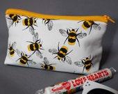 White bees make up bag, makeup bag, make up bag, bee, bumble bee, bumblebee, leather make up bag, leather makeup bag, leather pouch, cute