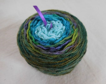 Glacier Cruise Gradient Sock Yarn -- Green, Purple, Aqua -- Superwash Merino and Nylon Blend Fingering Weight