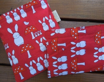 Reusable sandwich and/or snack bag - Reuse sandwich bag - Reusable snack bag -  Bunnies and toadstools with snack bag of your choice