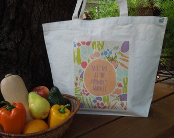Natural cotton market tote - Large canvas tote - Reusable shopping bag - Meet me at the farmers market #1