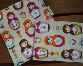 Reusable sandwich and/or snack bag - Reusable sandwich bag - Reuse snack bag - Matryoshka and several options for a matching snack bag