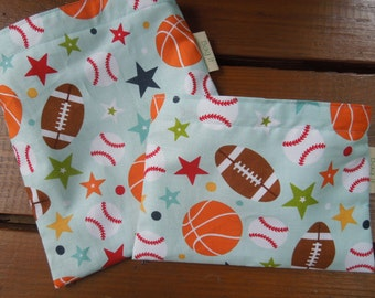 Reusable sandwich and/or snack bag - Reuse sandwich bag - Fabric snack bag - Lets play ball