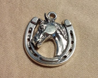 Sterling Silver Horse head in a Horse Shoe Charm