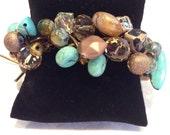 Turquoise bracelet, beaded bracelet, leather wrap bracelet
