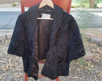 Vintage Persian Fur Wrap Mortons Suze M Stole Black