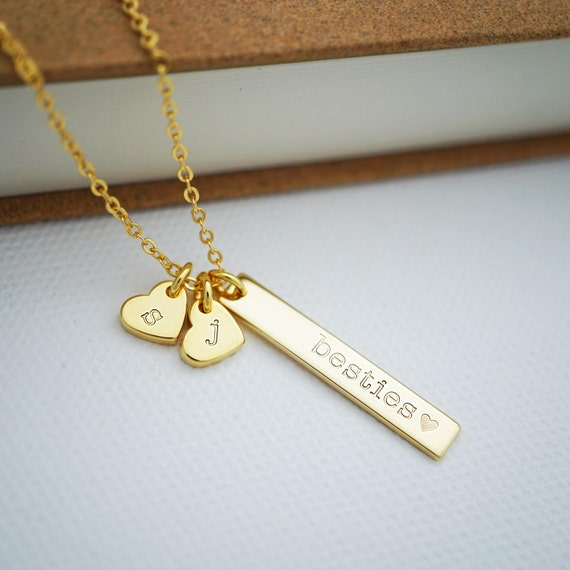 besties vertical bar necklace with hearts personalized