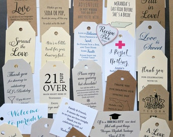 Personalized Customized Tags, Gift Tags, Favor Tags, Custom Tags, Thank you tags, Favors, Wedding Favor Tags Hang Tags Kraft Tags Shower Tag