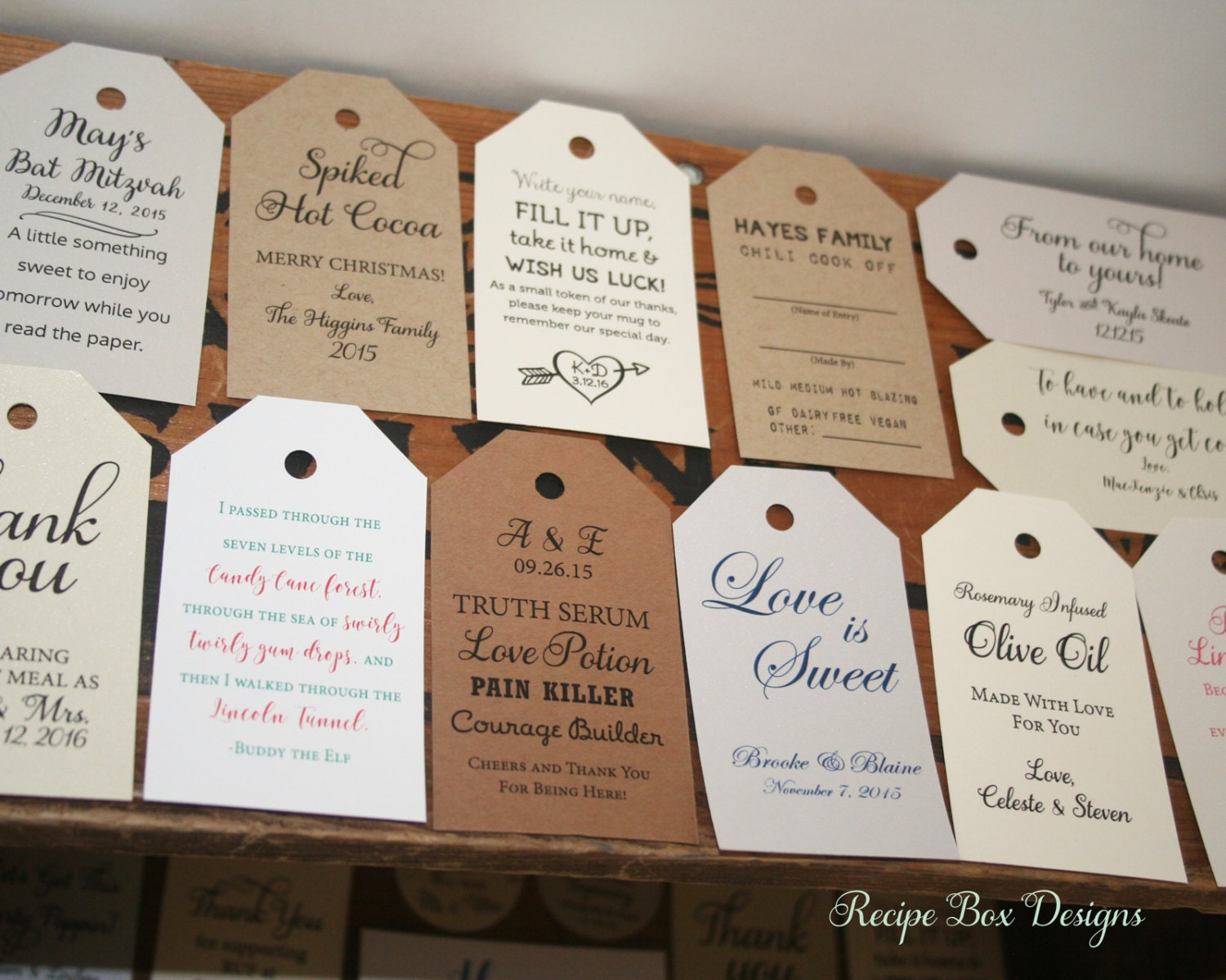 Custom Tags Wedding Favors Gift Tags Custom Wedding by RecipeBox