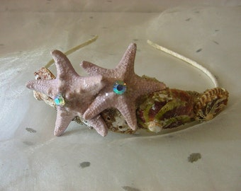 Starfish+Shell Mermaid Tiara Beach Wedding Crown