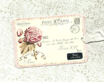 Tags, Peony Tag, Vintage Style, Gift Tags, Party Favors, Peony Gift Tags