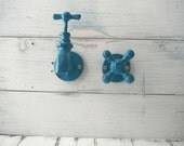 tap hook set towel hooks wall hook coat hook faucet hooks cottage chic large tap hook petite faucet hook blue green hooks bathroom decor