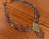 Saqui.. Bohemian Statement Necklace, Tribal, Bronze, Multi- Strand Beaded, Gallery Collection mcagn18