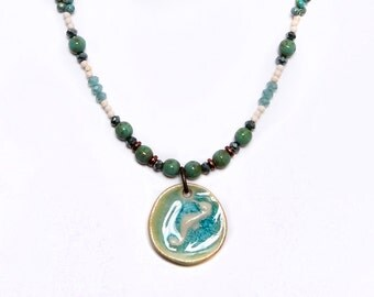 Happy Sea Horse, Beach Necklace, Handcrafted Stoneware, Turquoise Beaded, Art Bead Necklace
