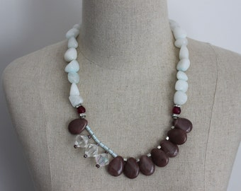 ON SALE Statement Dusk Aubergine & Baby Blue Asymmetrical Stone Necklace in Baby Blue, Clear Crystal and Eggplant