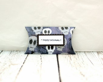Halloween Pillow Box, Halloween Treat Box, Halloween Treat Pillow Box, Pillow Box Treat Holder, Skull Treat Box, Skull Pillow Box,