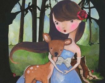 Apple, Woodland Girl Art, Deer Art Print
