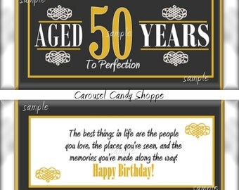 50th Birthday Party Favors Hershey's Candy Bar Wrappers DIY Printable PDF file